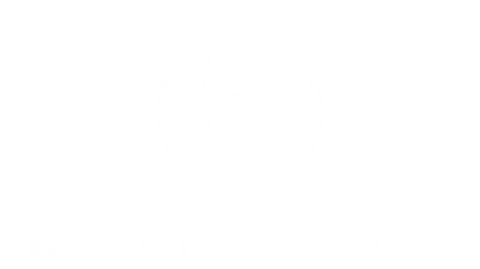 Black & White Logo in Weiß